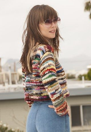 70s Handmade Cropped Rainbow Sweater XS Cute VIntage