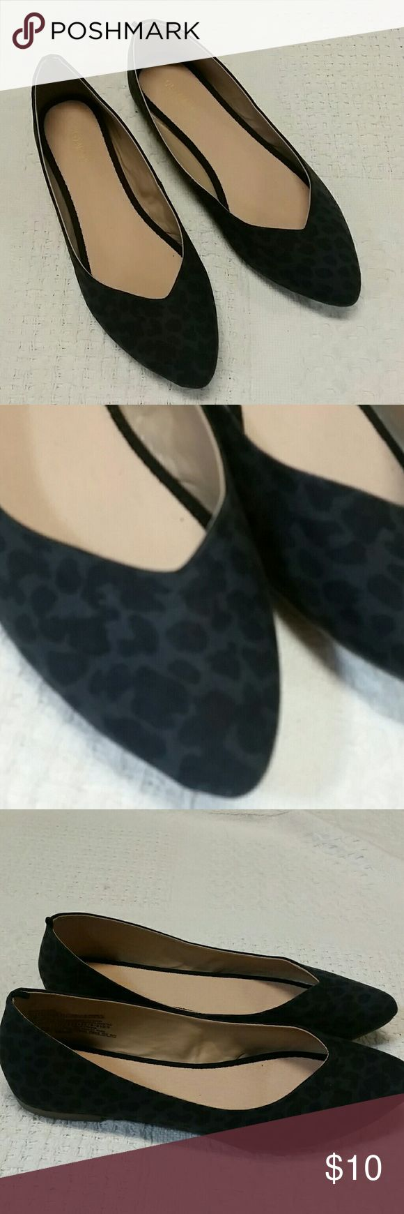 Old Navy ballet flats, animal print gray black Old Navy black and gray animal print flats Old Navy Shoes Flats & Loafers