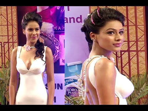 Nia Sharma GORGEOUS in a deep low neck gown at Boroplus Gold Awards 2015.