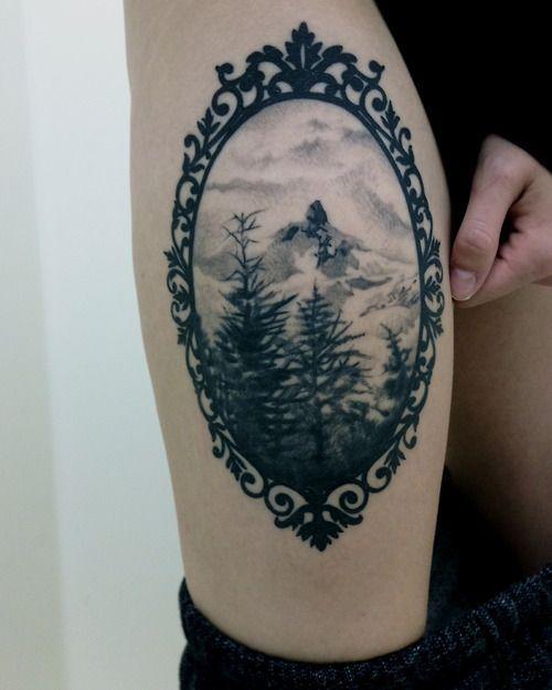 Mountain View Thigh Tattoo