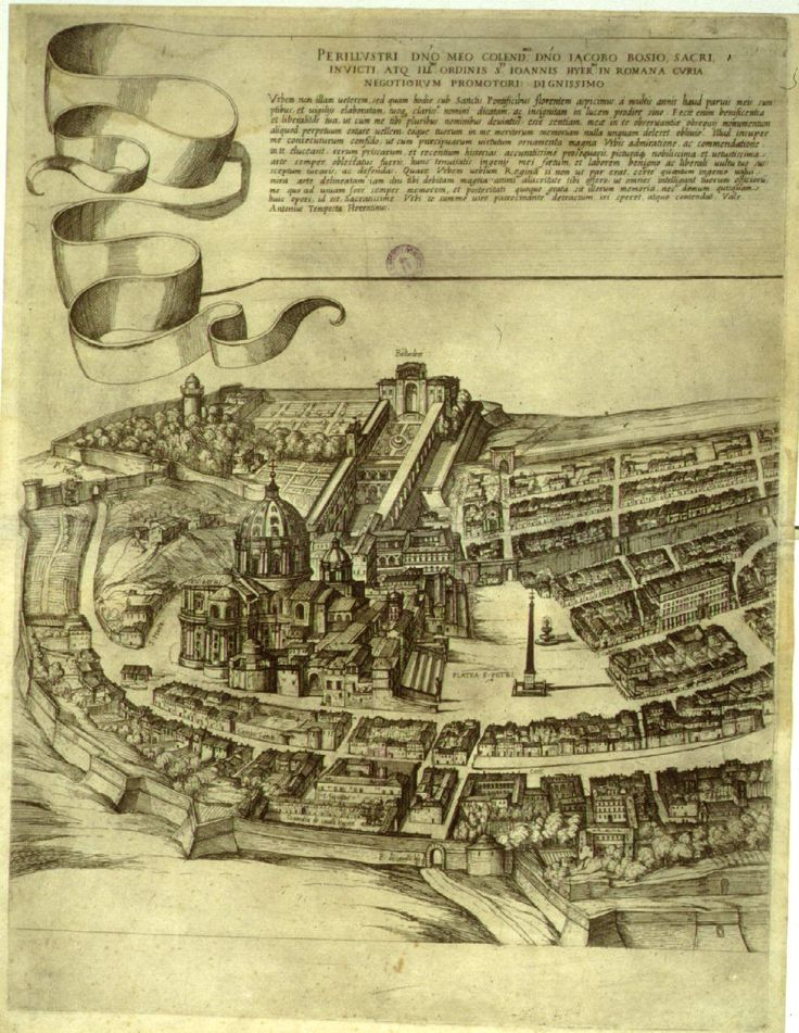 Antonio Tempesta's View of Rome, 1593 -- this portion of the 12-part map shows St. Peter's: 1593, Early Rome, Peter O'Toole, Ears Maps, 12Part Maps, Antonio Tempesta, Rare Maps, 12 Parts Maps, Portion