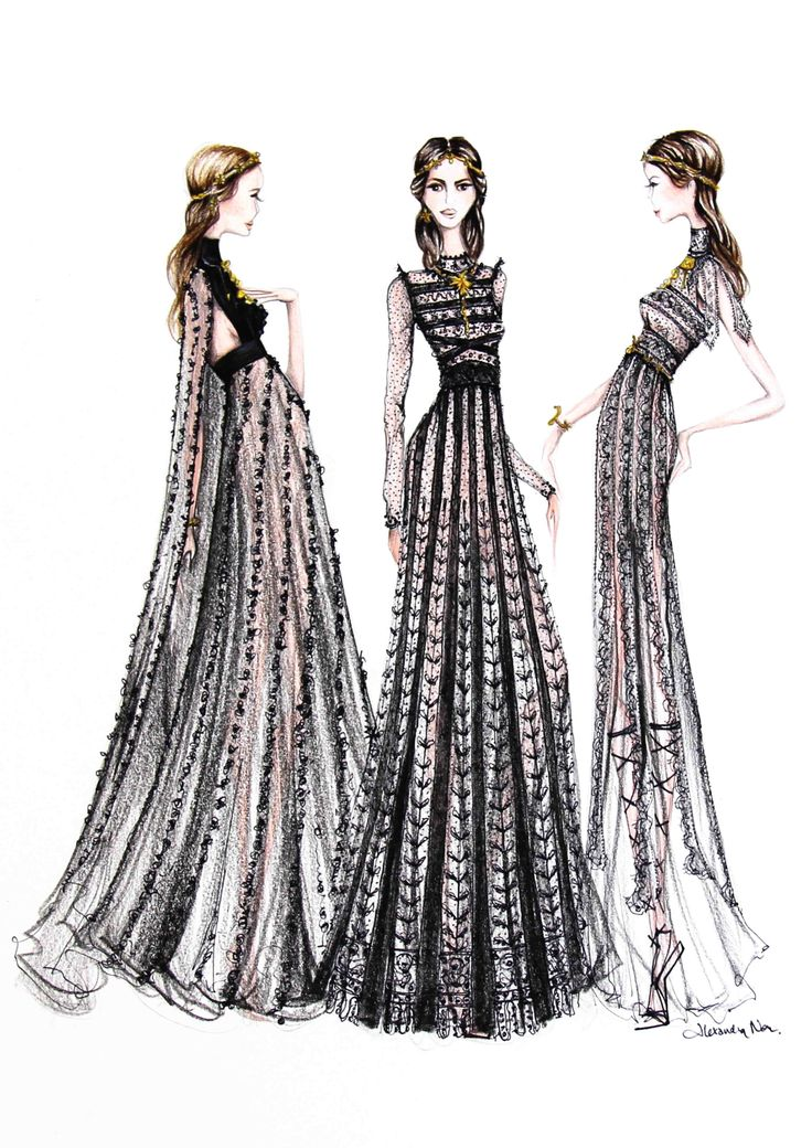 Fashion illustration - couture dress sketches // Alexandra Nea