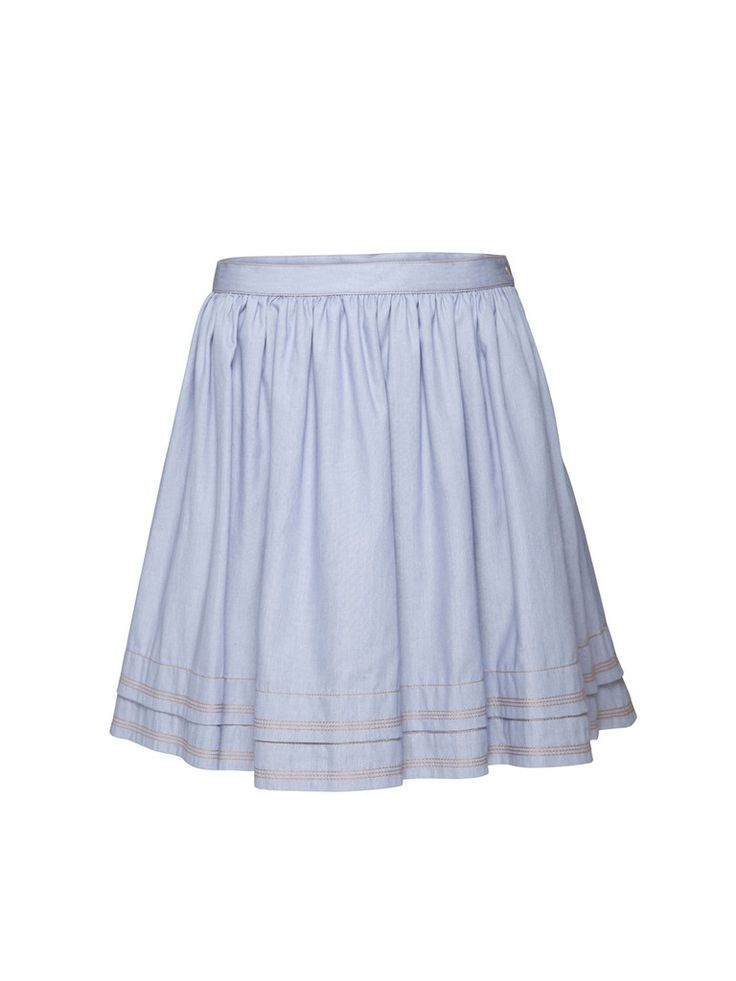 The Soraia Chambray Skirt is a trans-seasonal wardrobe essential. Pair your skirt with the Pursuit Chambray Shirt for a playful daytime look, or add a leather jacket and ankle boots for an off-duty casual look.  Features: Made from Cotton Chambray Pleated hem detail Size Zip & snap fastener closure.