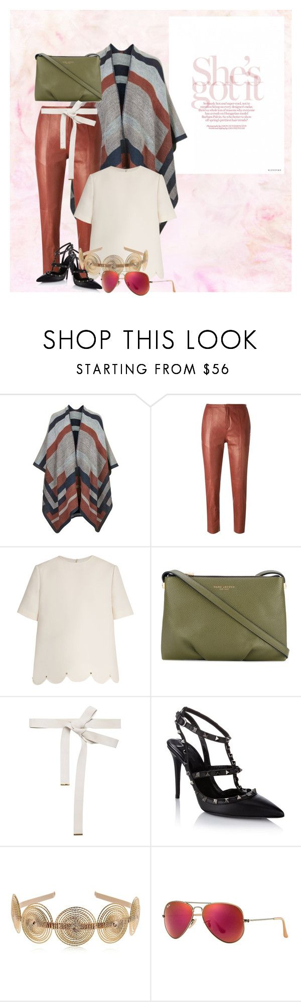 """Untitled #41"" by bebebelabee on Polyvore featuring Topshop, Forte Forte, Valentino, Marc Jacobs, Marni, Rosantica and Ray-Ban"