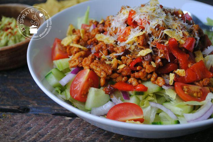 Tacosalade - Weinig ingrediënten, simpel en het staat binnen no time op tafel. - vegetarisch of vegan gerecht maken? Gebruik dan tahoe (tofu) - koolhydraatarm