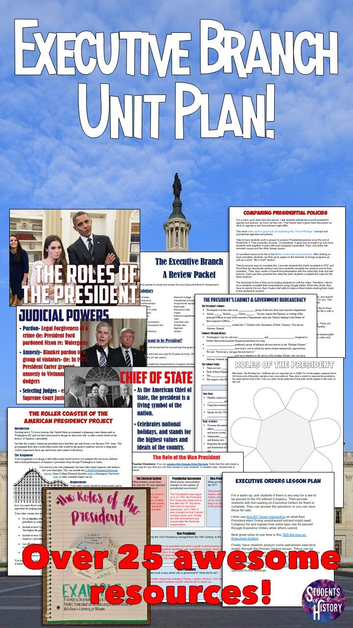 Executive Branch unit plan bundle! Over 25 engaging activities and lesson plans for teaching about the Presidency in American Government or Civics!