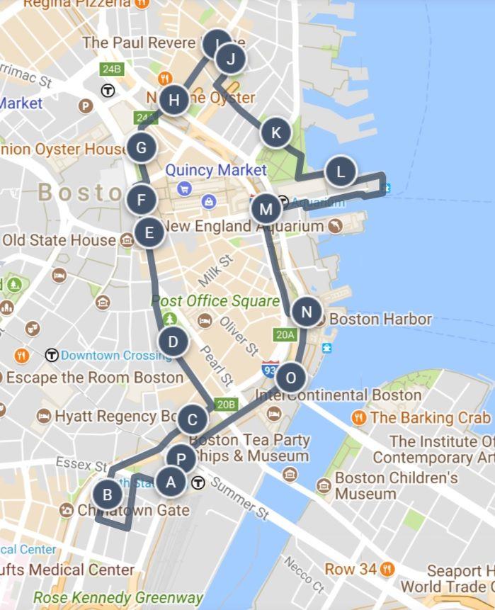 boston walking tour map Walk Eat And Drink Through Boston Sightseeing Walking Tour Map boston walking tour map