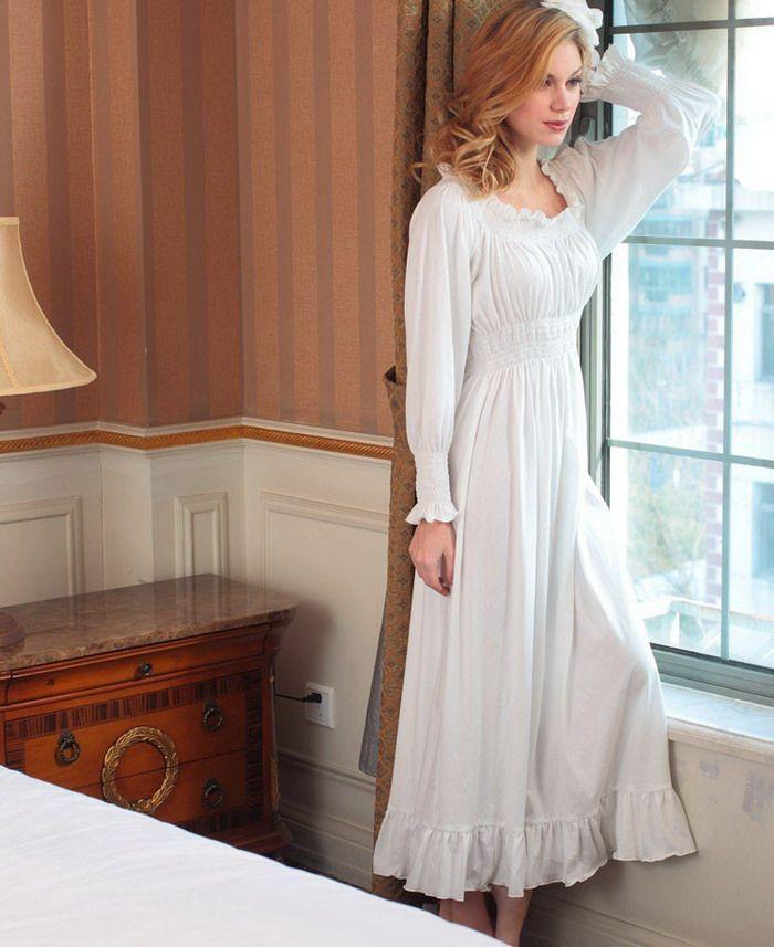 Cotton Greece White Long Sleeve Horizontal Collar Maxi Nightgown