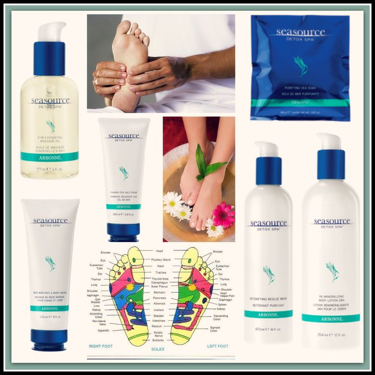 How to: detox foot soak with Arbonne SeaSource Detox spa products. Click for LOTS more info!