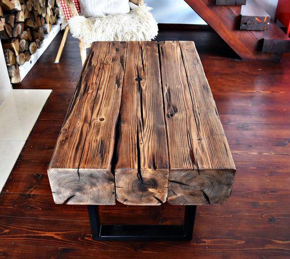 Handmade Reclaimed Wood & Steel Coffee Table Vintage Rustic Industrial  loft end table unique brown old wood old beams black legs