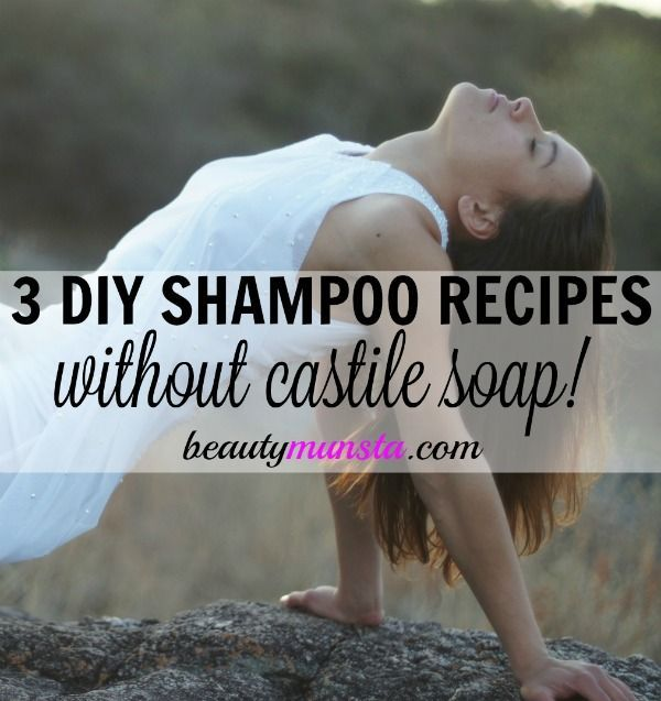 Looking for non-sudsy DIY shampoos?! Here are 3 homemade shampoo recipes without castile soap for damaged hair, hair growth and greasy hair!