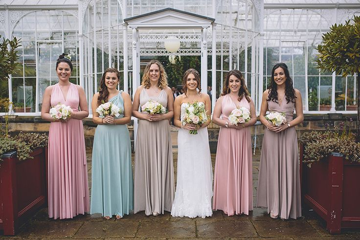 Multicoloured Multiway Bridesmaid Dresses Long Maxi Darling Pale Pastels Conservatory Wedding http://storyandcolour.co.uk/
