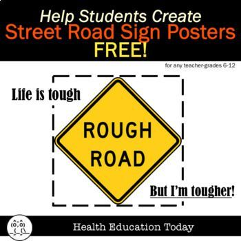 Mental Health Street Signs Art FREE -★★★★ 59 PowerPoint Templates Included!  Perfect for New Year's Goal-Setting!
