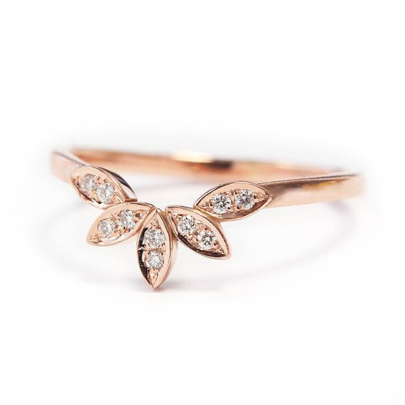 Unique Gold Ring Leaves Side Band 14K Rose by SillyShinyDiamonds