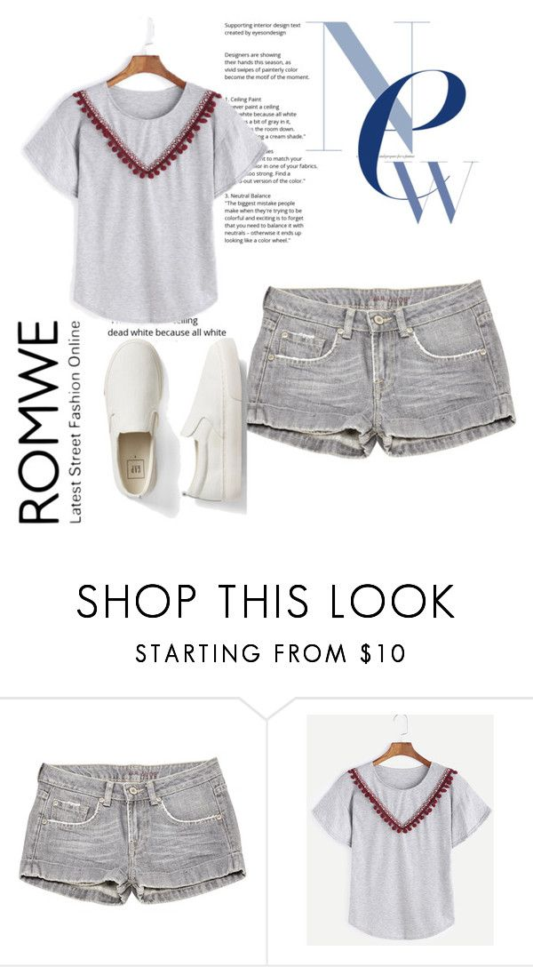 """""""Heather-Grey-Embroidered-Tape-Detail-Pom-Pom-T-shirt"""" by alma-k1 ❤ liked on Polyvore featuring Paul & Joe, Gap and romwe"""