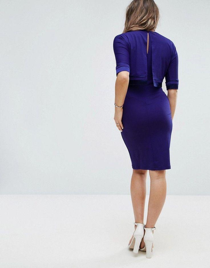 ASOS Maternity NURSING Double Layer Dress with Satin Trim - Navy