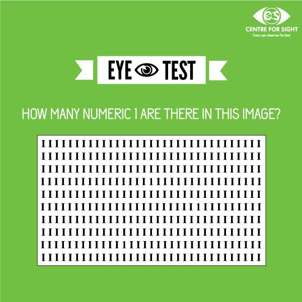 #EyeTest How many numeric 1 are there in this image? Give a quick go through & find the number of 1's.