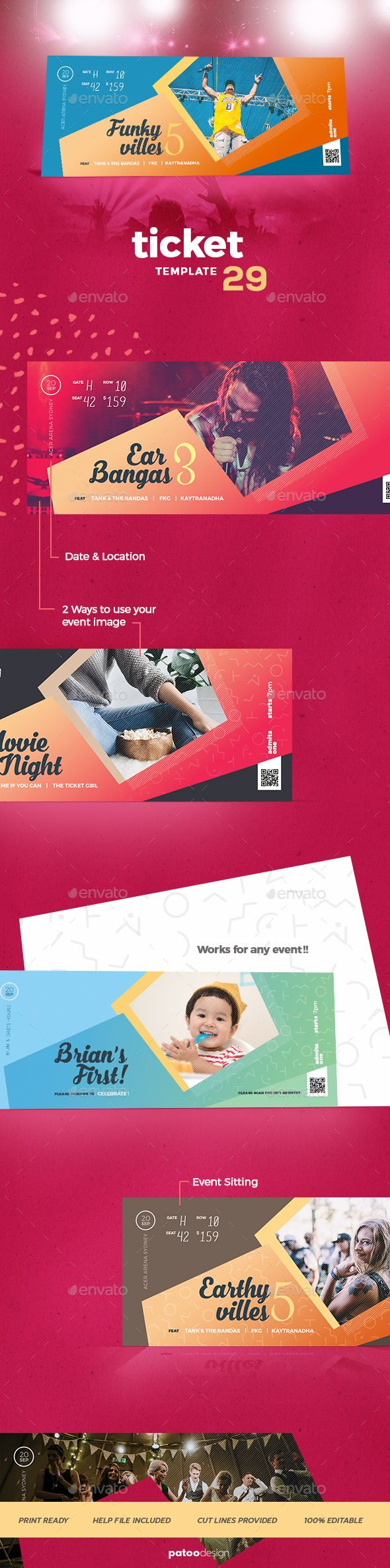 Event Tickets Template 29 — Photoshop PSD #karaoke #retro • Download ➝ https://graphicriver.net/item/event-tickets-template-29/20043876?ref=pxcr