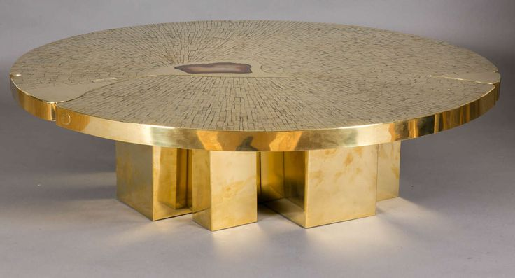 Gorgeous Sculptural Table With Agate Inset This Is The Circular Coffee Table Circa 1970 By