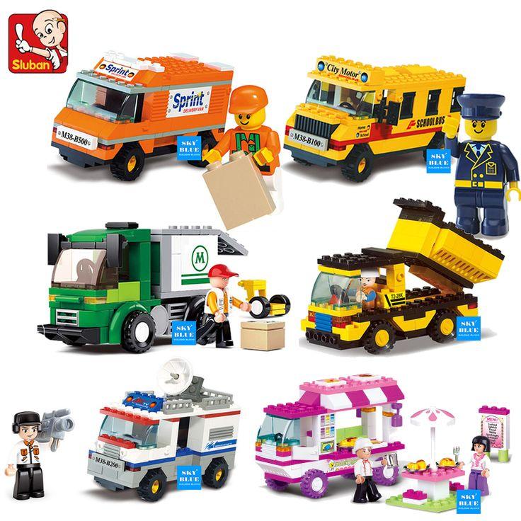 Building Blocks City House Snack Car TV Express Police Truck school bus Brick girls Toy Compatible Legoe