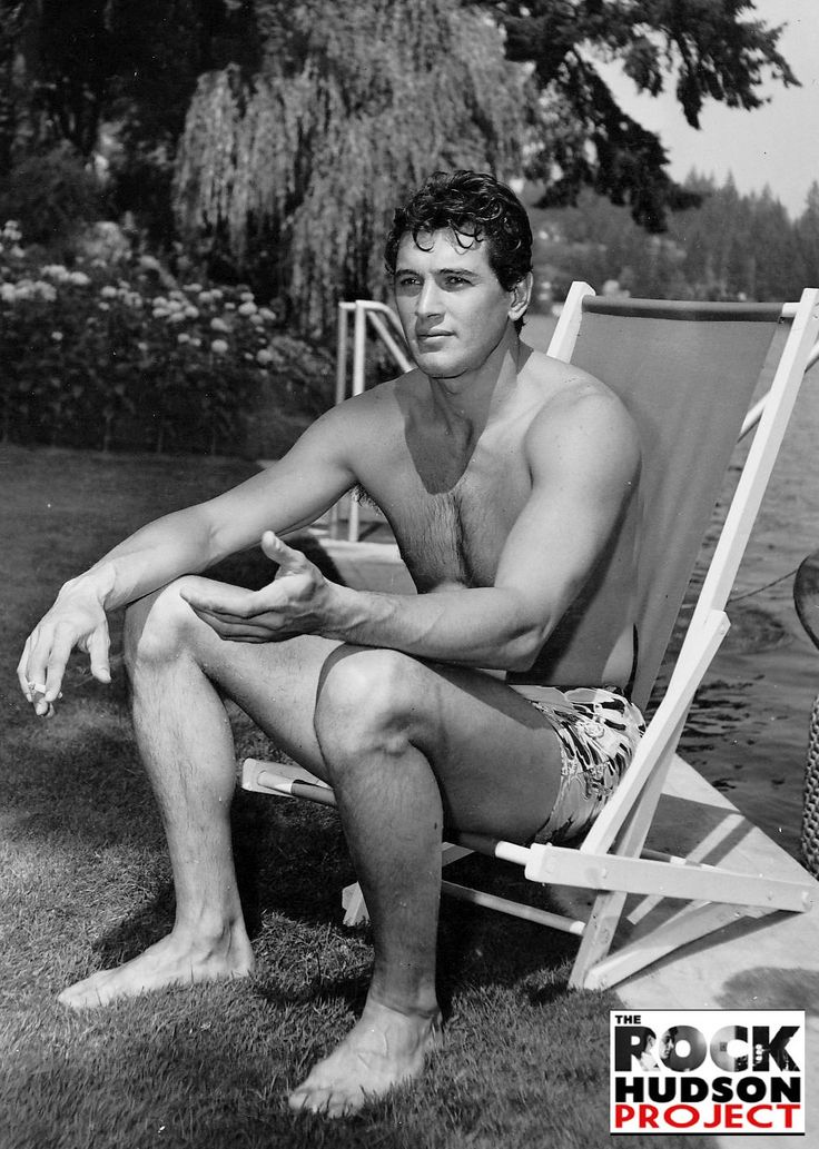 Rock Hudson during a photo session at Lake Oswego in Oregon, c. 1950.