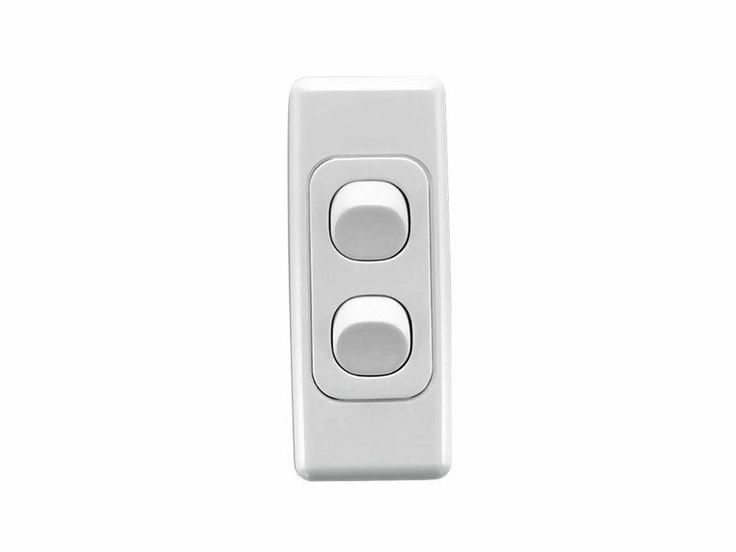 Clipsal 2032A White 2000 Series Light Switch 2 Gang Double Wall Plate Architrave