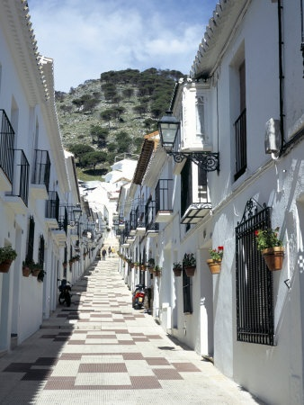 Calle San Sebastian, a Narrow Street in Mountain Village, Mijas, Malaga, Andalucia, Spain--you should of seen us trying to drive a CAR down these streets!  LOL!
