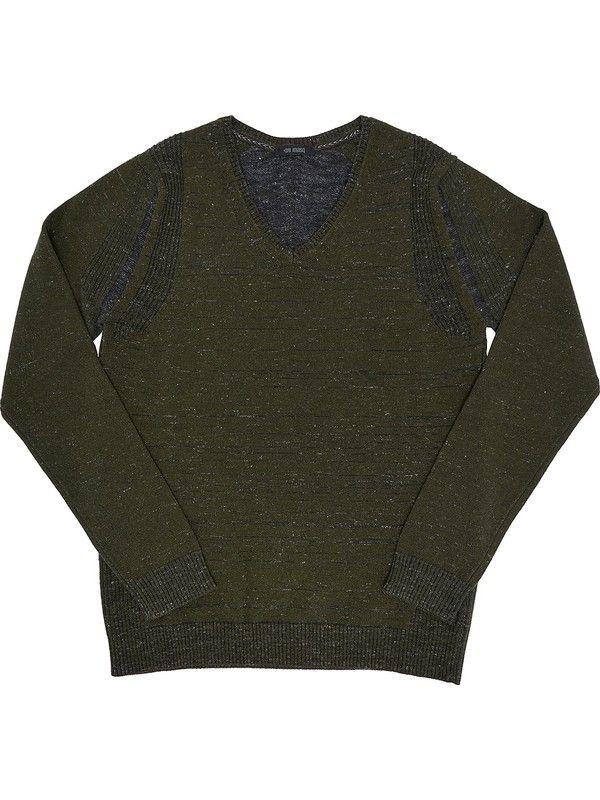 Men's Green v-neck sweater cashmere blend +39 Masq