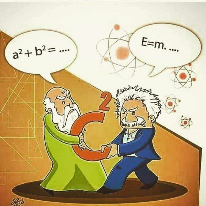 Pythagoras and Einstein fighting over c squared