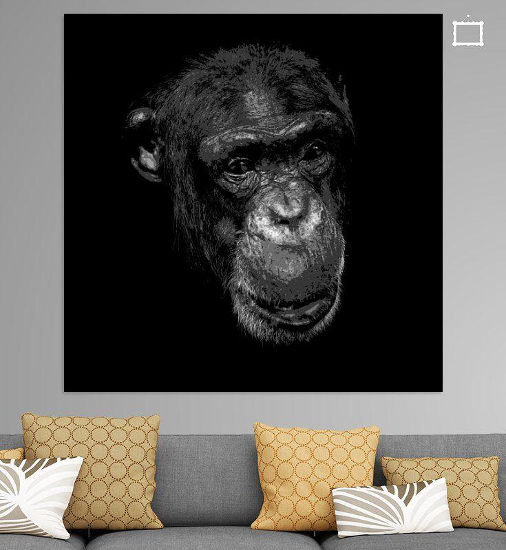 Schimpanse in Schwarz und Weiß von Emajeur Photography auf Leinwand, Tapete und mehr
