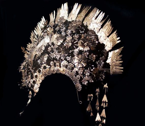 Antique Suntiang. Huge Ceremonial Bridal Headdress.Traditional Indonesian Gold/Bronze Spectacular, Exotic  Peacock Adornment.