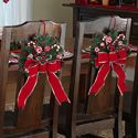 Peppermint Floral Holiday Dining Chair Tie Decorations