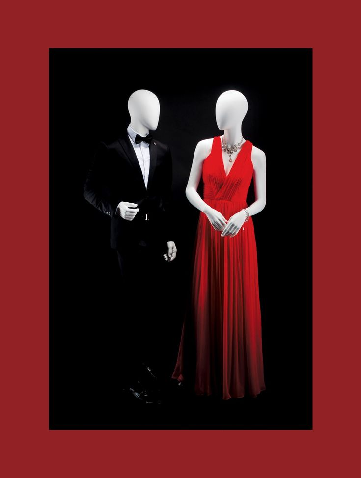 AEGON Collection by More Mannequins #FemaleMannequin #MaleMannequin #elegance #blacksuit #HighFashion #RedDress #diamonds