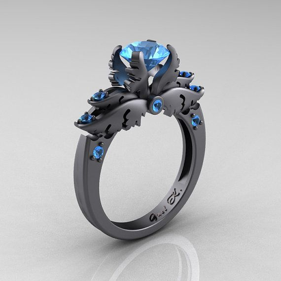 "Ring | K Gnel ~ DesignMasters. ""Classic Angel"". 14K Gray Gold, Blue Topaz"