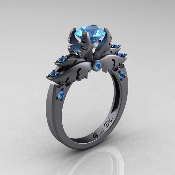 Classic Angel 14K Gray Gold 1.0 Carat Blue Topaz by DesignMasters, $2399.00