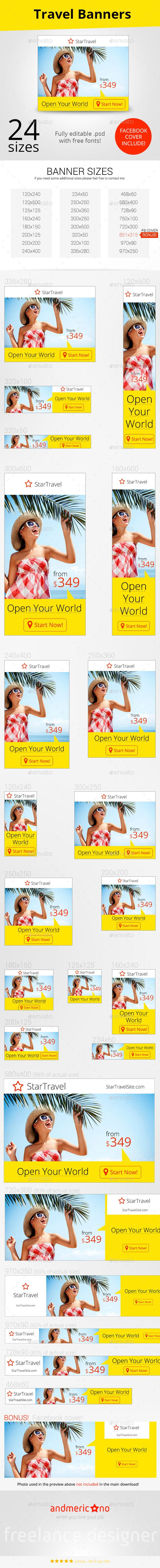 Travel Ad Banners Template PSD | Buy and Download: http://graphicriver.net/item/travel-ad-banners/9998128?ref=ksioks