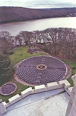 Benton Castle Labyrinth in Wales. The Chartres style labyrinth is 19.5m across and made from old paving concrete paving stones.