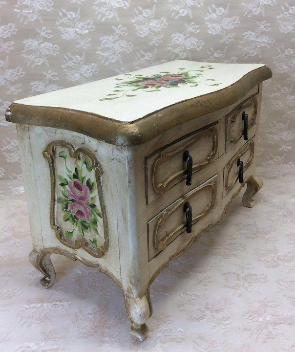 Large Handpainted Italian Dresser Doll Clothes Powder Room Stained Credenzas