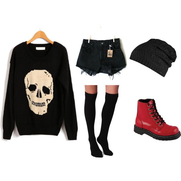 Punk Outfits Polyvore | fashion look from January 2013 featuring Plush socks, Levi's shorts ...