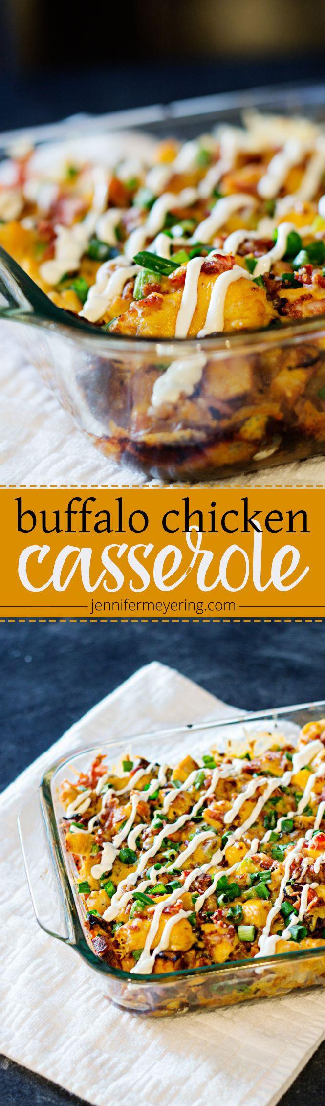 Buffalo Chicken and Potato Casserole | JenniferMeyering.com