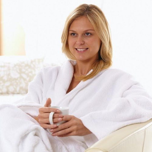 New Eco bath robes and towels which take 15% less time to dry, than conventional robes will save ££££'s on laundry bills.