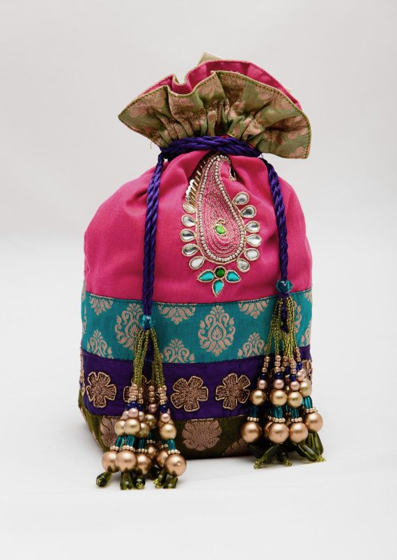 Indian Silk Pouch Handcrafted Pink Blue Green ♥ by KalaaCreativities, $25.00