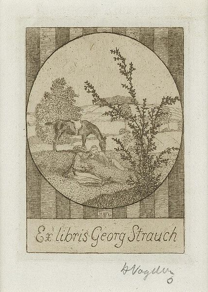 Bookplate by Heinrich Johann Vogeler for Georg Strauch, ??