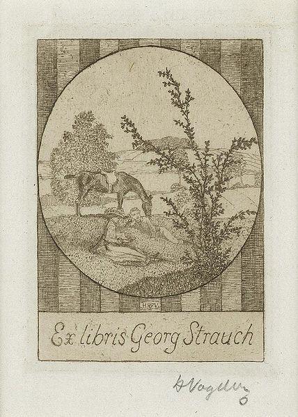 Bookplate by Heinrich Johann Vogeler for Georg Strauch, ??
