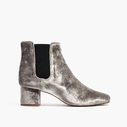 """In undeniably cool velvet, these sleek Chelsea boots give a low-key nod to timeless '60s styles. The not-too-high heel is made for adventuring day or night. When you select your size, """"H"""" equals a half size. <ul><li>2"""" heel.</li><li>Velvet upper.</li><li>Leather lining and sole.</li><li>Import.</li><li>Select stores.</li></ul>"""