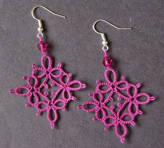 Tatted earrings with Swarovsky (https://www.pinterest.com/nucciafo/my-tatting/)