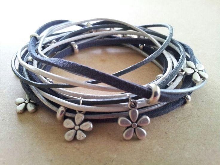 Veter armband met grijstinten