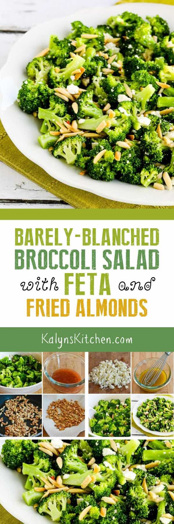 This Barely-Blanched Broccoli Salad with Feta and Fried Almonds is absolutely a WOW, and this amazing broccoli salad is low-carb, Keto, low-glycemic, gluten-free, and meatless. You MUST make this salad! [found on KalynsKitchen.com] #BroccoliSalad #LowCarbSalad #LowCarbBroccoliSalad
