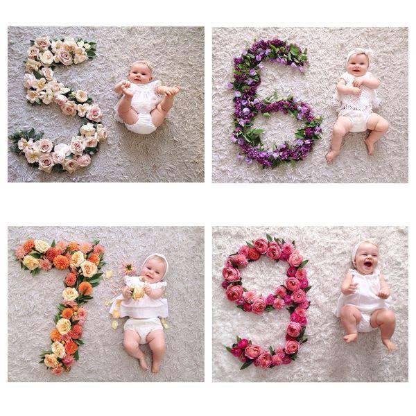 お花と一緒にも可愛い♡月齢ごとの赤ちゃん画像