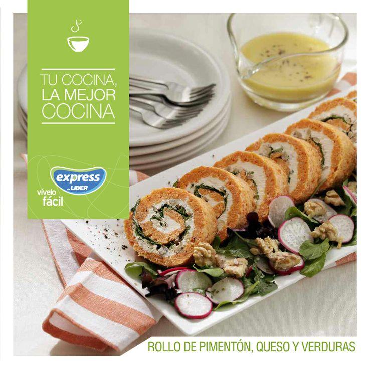 Rollo de pimentón, queso y verdura. #Recetario #Receta #RecetarioExpress #Lider…